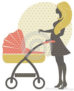 silhouette-beautiful-mother-baby-carriage-retro-style-30190085